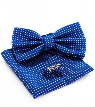 Set Papillon Pochette Gemelli Accessori Eleganti Micro Fantasia Rombi Pois Blu Royal GIOSAL