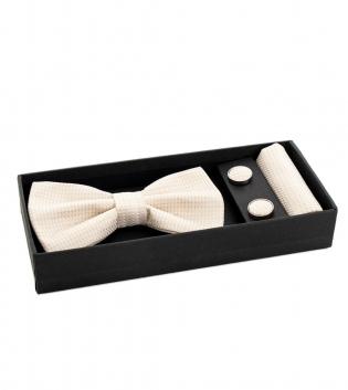 Set Papillon Pochette Gemelli Micro Fantasia Bianco Look Casual Accessori Eleganti  GIOSAL