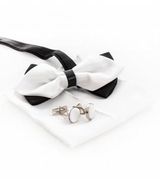 Set Papillon Gemelli Pochette Doppio Fiocco Bianco Nero Look Elegante Stile Casual GIOSAL