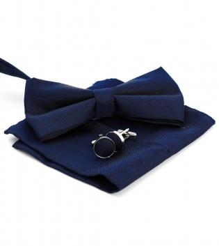 Set Papillon Gemelli Pochette Monocromo Blu in Tessuto Tinta Unita Look Elegante GIOSAL