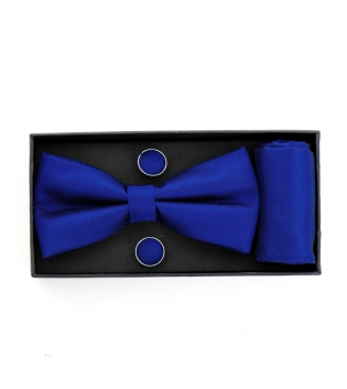Set Papillon Gemelli Pochette Monocromo Blu Royal in Tessuto Tinta Unita Look Elegante GIOSAL
