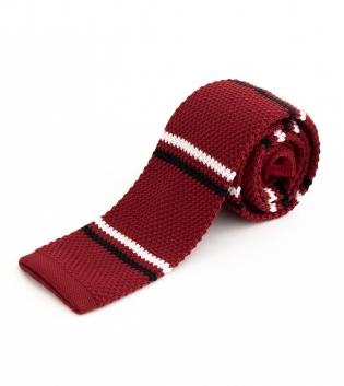 Cravatta Maglina Uomo Cravattino Maglia Rossa Fantasia Rigata Righe GIOSAL