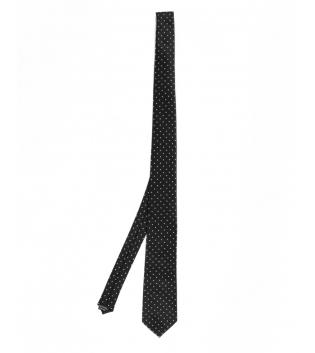 Cravatta Uomo Fantasia a Pois Nero Bianco Elegante Accessori GIOSAL