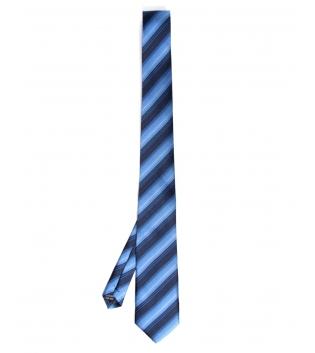 Cravatta Uomo Fantasia a Righe Blu Nero Elegante Accessori GIOSAL