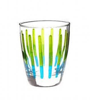 Set Bicchieri Domino 3 Pezzi 32,5cl Acqua Colorati Fucsia Verde Vetro GIOSAL