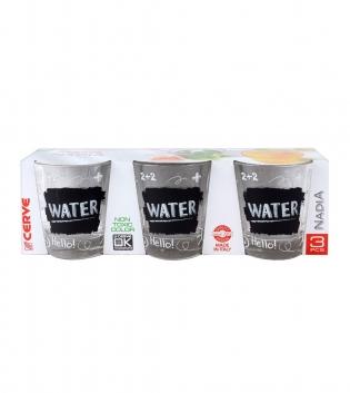 Set Bicchieri Nadia Lavagna 3 Pezzi Acqua 25cl Vetro Water GIOSAL