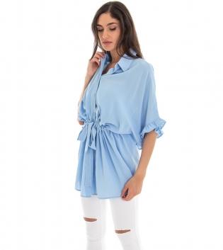 Camicia Donna Colletto Elastico Maniche 3/4 Volant Tinta Unita Celeste GIOSAL