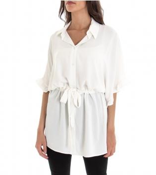 Camicia Donna Colletto Elastico Maniche 3/4 Volant Tinta Unita Bianco GIOSAL