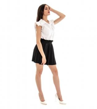 Camicia Donna Tinta Unita Bianco Spalline Imbottite Colletto GIOSAL