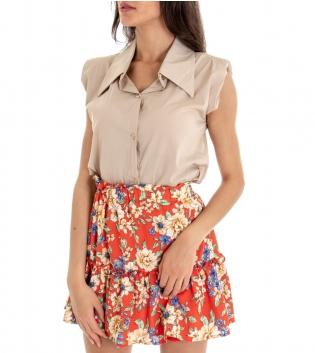 Camicia Donna Tinta Unita Beige Spalline Imbottite Colletto GIOSAL