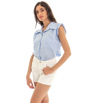 Camicia Donna Tinta Unita Celeste Spalline Imbottite Colletto GIOSAL