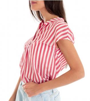 Camicia Donna Rigata Collo Coreano Rosso Scollo a V Eiki GIOSAL