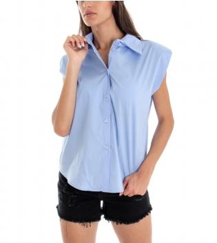 Camicia Donna Tinta Unita Azzurra Spalline Imbottite Colletto GIOSAL