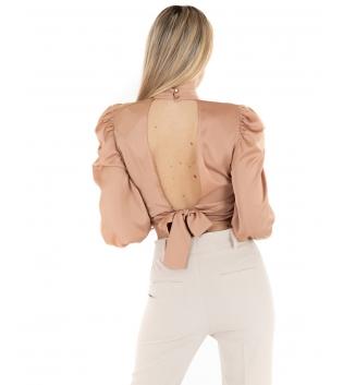 Camicia Donna Blusa Top Crop Beige Schiena Scoperta Eiki Maniche Lunghe GIOSAL