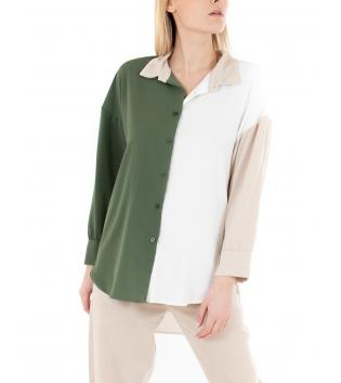 Camicia Donna Tricolore Verde Beige Bianco Colletto Maniche Lunghe Casual GIOSAL-Verde-TAGLIA UNICA