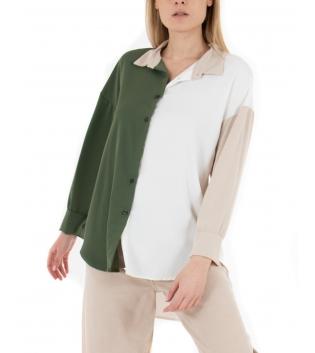 Camicia Donna Tricolore Verde Beige Bianco Colletto Maniche Lunghe Casual GIOSAL
