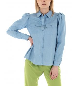 Camicia Donna Eiki Denim Chiaro Colletto Maniche Lunghe Casual GIOSAL