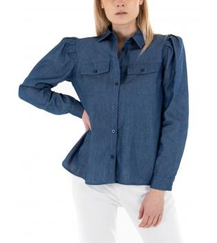 Camicia Donna Eiki Denim Scuro Colletto Maniche Lunghe Casual GIOSAL