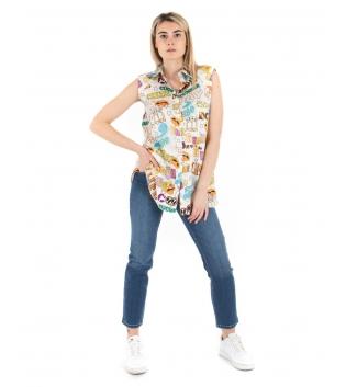 Camicia Donna Eiki Multicolore Giromaniche Spalline Imbottite Stampa Colletto GIOSAL