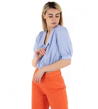 Camicia Donna Eiki Crop Rigata Azzurra Colletto Maniche Corte GIOSAL