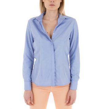 Camicia Donna Azzurra Eiki Maniche Lunghe Casual Colletto GIOSAL