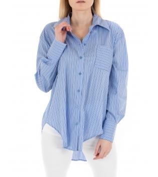 Camicia Donna Eiki Rigata Azzurra Colletto Maniche Lunghe Casual GIOSAL