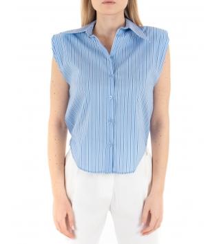 Camicia Donna Giromaniche Eiki Rigata Azzurra Casual Crop GIOSAL
