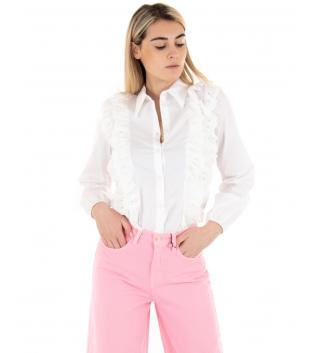 Camicia Donna Eiki Tinta Unita Bianca Volant Macrame Casual GIOSAL