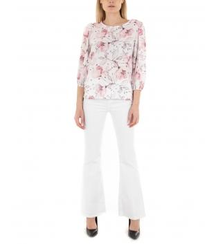 Camicia Donna Fantasia Floreale Rosa Elastico Manica a Sbuffo GIOSAL