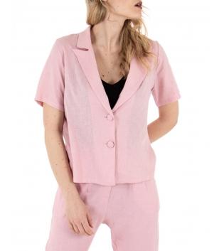 Camicia Donna Lino Giacca Maniche Corte Tinta Unita Rosa GIOSAL