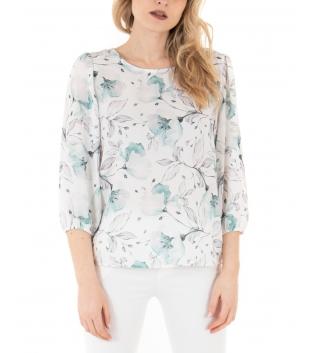 Camicia Donna Fantasia Floreale Celeste Elastico Manica a Sbuffo GIOSAL
