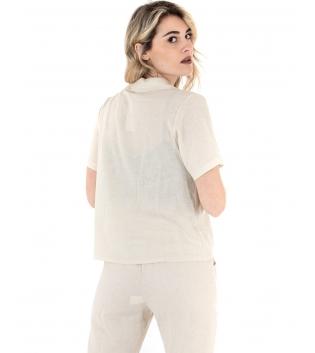 Camicia Donna Lino Giacca Maniche Corte Tinta Unita Beige GIOSAL