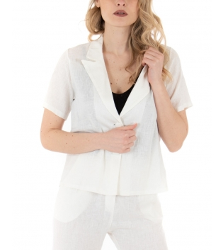 Camicia Donna Lino Giacca Maniche Corte Tinta Unita Bianco GIOSAL
