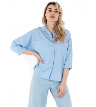 Camicia Donna Eiki Tinta Unita Celeste Tasche Colletto Casual GIOSAL