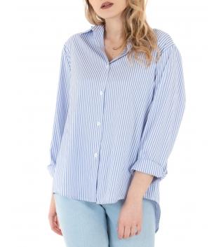 Camicia Donna Eiki Righe Strette Celeste Asimmetrica Colletto GIOSAL