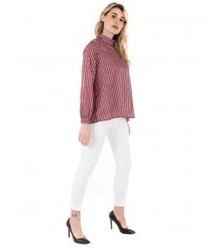 Camicia Donna Rigata Collo Bordeaux Maniche Lunghe Casual GIOSAL