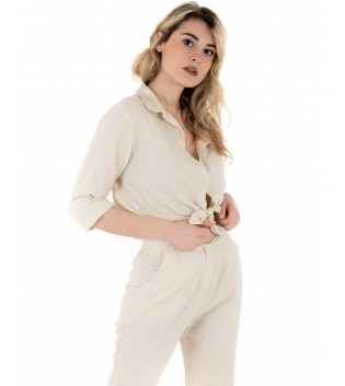 Camicia Donna Lino Tinta Unita Beige Nodo Colletto GIOSAL