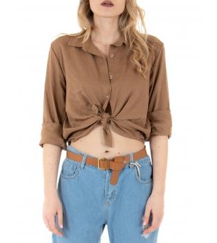 Camicia Donna Lino Tinta Unita Camel Nodo Colletto GIOSAL