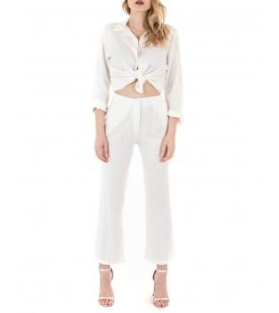 Camicia Donna Lino Tinta Unita Bianco Nodo Colletto GIOSAL