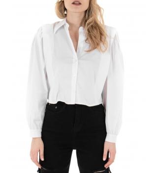 Camicia Donna Eiki Cropped Maniche a Sbuffo Tinta Unita Bianco Colletto GIOSAL