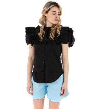 Camicia Donna Eiki Collo Coreano Rouches Tinta Unita Nero GIOSAL