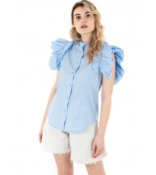 Camicia Donna Eiki Collo Coreano Rouches Tinta Unita Celeste GIOSAL