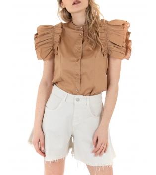 Camicia Donna Eiki Collo Coreano Rouches Tinta Unita Camel GIOSAL