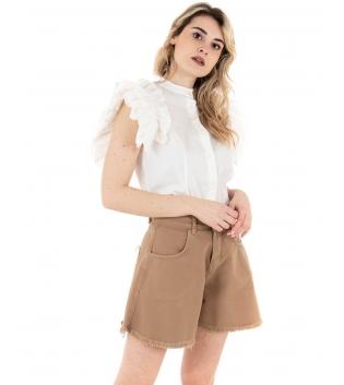 Camicia Donna Eiki Collo Coreano Rouches Tinta Unita Bianco GIOSAL