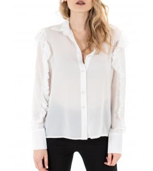 Camicia Donna Maniche Lunghe Tinta Unita Bianca Semitrasparente Rouge GIOSAL