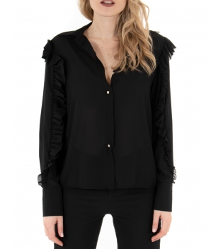 Camicia Donna Maniche Lunghe Tinta Unita Nera Semitrasparente Rouge GIOSAL