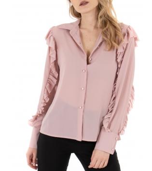 Camicia Donna Maniche Lunghe Tinta Unita Rosa Semitrasparente Rouge GIOSAL