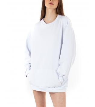 Felpa Donna Oversize Tinta Unita Bianco Maniche Lunghe Vestito Casual GIOSAL