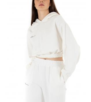 Felpa Donna Tinta Unita Cappuccio Bianco Cropped Maniche Lunghe Palloncino Girocollo GIOSAL
