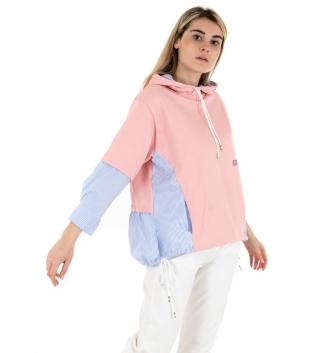 Felpa Donna Bicolore Rosa Azzurra Cappuccio Camicia Rigata Maniche Lunghe GIOSAL